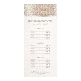 Elegant Faux Silver Sequins Salon Price List Menu Personalized Rack Card