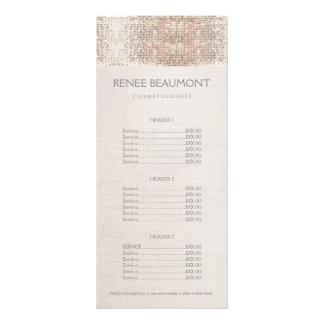 Elegant Faux Silver Sequins Salon Price List Menu Rack Card