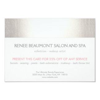 Elegant Faux Silver Striped Salon & Spa Referral 2 3.5x5 Paper Invitation Card