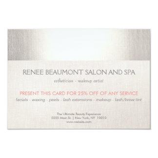 Elegant Faux Silver Striped Salon & Spa Referral 3.5x5 Paper Invitation Card