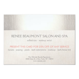 Elegant Faux Silver Striped Salon & Spa Referral Card