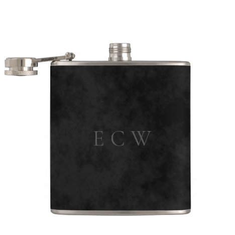 Elegant Faux Stamped Triple Monogram on Black Flask