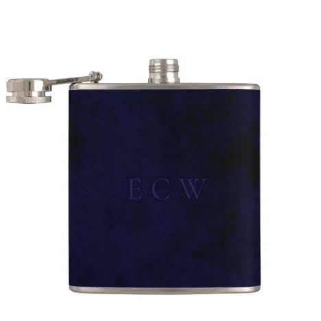 Elegant Faux Stamped Triple Monogram on Royal Blue Flask