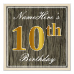 [ Thumbnail: Elegant, Faux Wood, Faux Gold 10th Birthday + Name Invitation ]