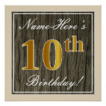 [ Thumbnail: Elegant, Faux Wood, Faux Gold 10th Birthday + Name Poster ]
