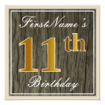 [ Thumbnail: Elegant, Faux Wood, Faux Gold 11th Birthday + Name Invitation ]