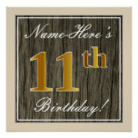 [ Thumbnail: Elegant, Faux Wood, Faux Gold 11th Birthday + Name Poster ]