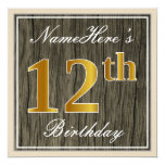 [ Thumbnail: Elegant, Faux Wood, Faux Gold 12th Birthday + Name Invitation ]