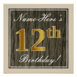 [ Thumbnail: Elegant, Faux Wood, Faux Gold 12th Birthday + Name Poster ]