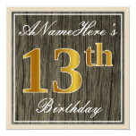 [ Thumbnail: Elegant, Faux Wood, Faux Gold 13th Birthday + Name Invitation ]