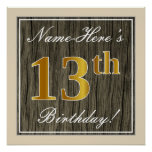 [ Thumbnail: Elegant, Faux Wood, Faux Gold 13th Birthday + Name Poster ]