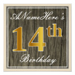 [ Thumbnail: Elegant, Faux Wood, Faux Gold 14th Birthday + Name Invitation ]