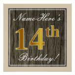 [ Thumbnail: Elegant, Faux Wood, Faux Gold 14th Birthday + Name Poster ]