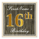 [ Thumbnail: Elegant, Faux Wood, Faux Gold 16th Birthday + Name Invitation ]