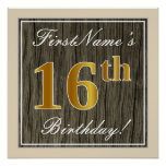 [ Thumbnail: Elegant, Faux Wood, Faux Gold 16th Birthday + Name Poster ]