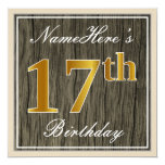[ Thumbnail: Elegant, Faux Wood, Faux Gold 17th Birthday + Name Invitation ]