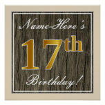 [ Thumbnail: Elegant, Faux Wood, Faux Gold 17th Birthday + Name Poster ]