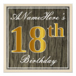[ Thumbnail: Elegant, Faux Wood, Faux Gold 18th Birthday + Name Invitation ]