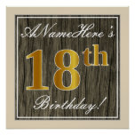 [ Thumbnail: Elegant, Faux Wood, Faux Gold 18th Birthday + Name Poster ]