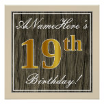 [ Thumbnail: Elegant, Faux Wood, Faux Gold 19th Birthday + Name Poster ]