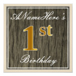 [ Thumbnail: Elegant, Faux Wood, Faux Gold 1st Birthday + Name Invitation ]