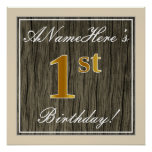 [ Thumbnail: Elegant, Faux Wood, Faux Gold 1st Birthday + Name Poster ]