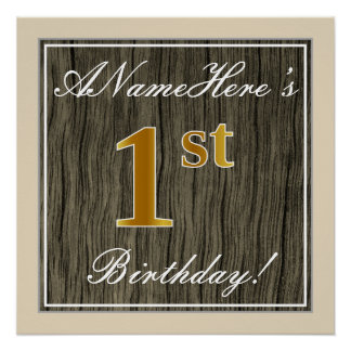 Elegant, Faux Wood, Faux Gold 1st Birthday + Name Poster