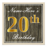 [ Thumbnail: Elegant, Faux Wood, Faux Gold 20th Birthday + Name Invitation ]