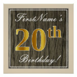[ Thumbnail: Elegant, Faux Wood, Faux Gold 20th Birthday + Name Poster ]