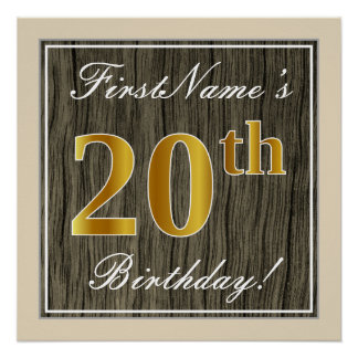 Elegant, Faux Wood, Faux Gold 20th Birthday + Name Poster