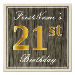 [ Thumbnail: Elegant, Faux Wood, Faux Gold 21st Birthday + Name Invitation ]