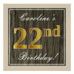 [ Thumbnail: Elegant, Faux Wood, Faux Gold 22nd Birthday + Name Poster ]