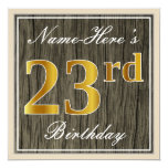 [ Thumbnail: Elegant, Faux Wood, Faux Gold 23rd Birthday + Name Invitation ]