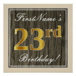 [ Thumbnail: Elegant, Faux Wood, Faux Gold 23rd Birthday + Name Poster ]