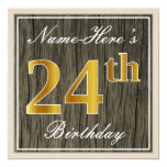 [ Thumbnail: Elegant, Faux Wood, Faux Gold 24th Birthday + Name Invitation ]