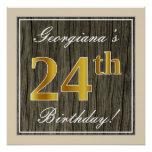 [ Thumbnail: Elegant, Faux Wood, Faux Gold 24th Birthday + Name Poster ]