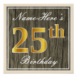 [ Thumbnail: Elegant, Faux Wood, Faux Gold 25th Birthday + Name Invitation ]