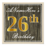 [ Thumbnail: Elegant, Faux Wood, Faux Gold 26th Birthday + Name Invitation ]