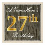 [ Thumbnail: Elegant, Faux Wood, Faux Gold 27th Birthday + Name Invitation ]