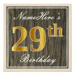 [ Thumbnail: Elegant, Faux Wood, Faux Gold 29th Birthday + Name Invitation ]