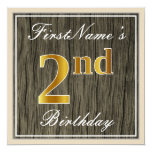 [ Thumbnail: Elegant, Faux Wood, Faux Gold 2nd Birthday + Name Invitation ]