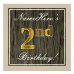 [ Thumbnail: Elegant, Faux Wood, Faux Gold 2nd Birthday + Name Poster ]
