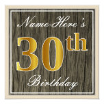 [ Thumbnail: Elegant, Faux Wood, Faux Gold 30th Birthday + Name Invitation ]
