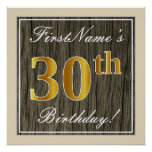 [ Thumbnail: Elegant, Faux Wood, Faux Gold 30th Birthday + Name Poster ]