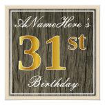 [ Thumbnail: Elegant, Faux Wood, Faux Gold 31st Birthday + Name Invitation ]