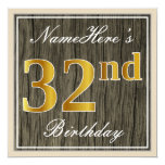 [ Thumbnail: Elegant, Faux Wood, Faux Gold 32nd Birthday + Name Invitation ]