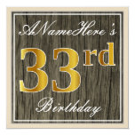 [ Thumbnail: Elegant, Faux Wood, Faux Gold 33rd Birthday + Name Invitation ]