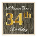 [ Thumbnail: Elegant, Faux Wood, Faux Gold 34th Birthday + Name Invitation ]