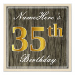 [ Thumbnail: Elegant, Faux Wood, Faux Gold 35th Birthday + Name Invitation ]