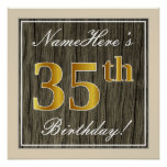[ Thumbnail: Elegant, Faux Wood, Faux Gold 35th Birthday + Name Poster ]